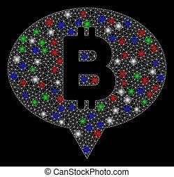 Bright Mesh Carcass Bitcoin Banner Balloon with Flash Spots