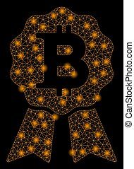 Bright Mesh Carcass Bitcoin Certificate Seal with Flare Spots