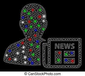 Bright Mesh Carcass Newsmaker Newspaper with Light Spots - ...