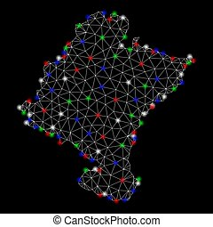 Bright Mesh Network Navarra Province Map with Flash Spots -...