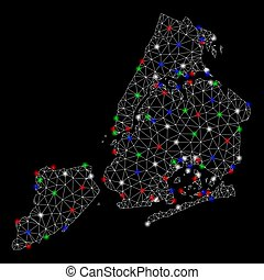 Bright Mesh Network New York City Map with Flash Spots