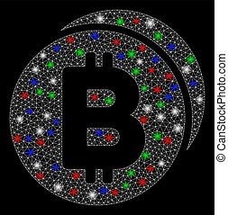 Bright Mesh Wire Frame Bitcoin Coins with Flash Spots