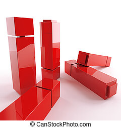 bright metallic abstract red cubes on a white background