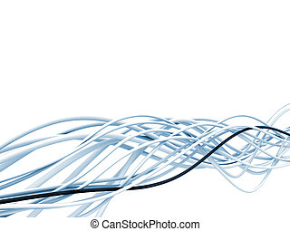 bright metallic fibre-optical blue and white cables on a...