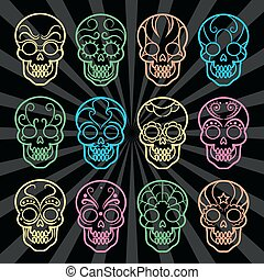 Bright mexican skulls collection