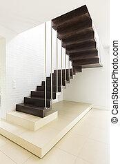 Bright minimalist hall with wooden stair - Bright minimalist...
