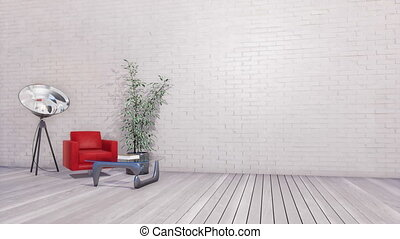 Bright minimalist interior with copy space wall 4K - Bright...