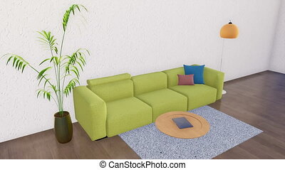 Bright minimalist living room interior design 3D - Green...