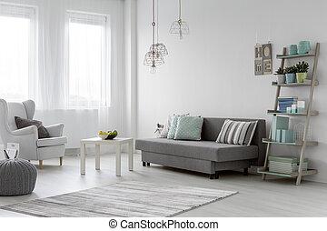 Bright mint flat - Minimalist arrangement in trendy bright...