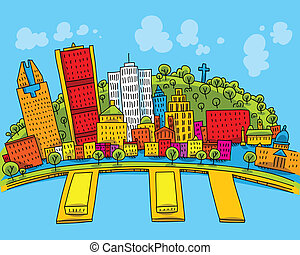Bright cartoon of the city of Montreal, Quebec, Canada.