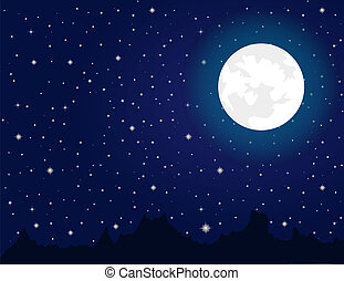 Bright moon and stars during night