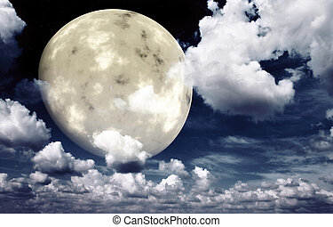Bright moon in the night sky