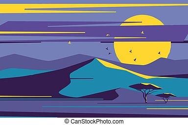 Bright moonrise over the desert sand dunes. Vector illustration