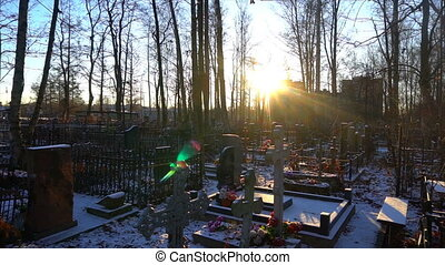 bright morning sun in the cemetery.