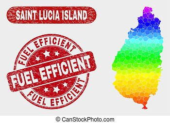 Bright Mosaic Saint Lucia Island Map and Distress Fuel Efficient Stamp Seal