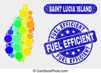 Bright Mosaic Saint Lucia Island Map and Scratched Fuel Efficient Stamp Seal