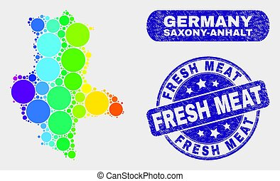 Bright Mosaic Saxony-Anhalt Land Map and Grunge Fresh Meat Seal