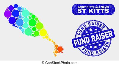 Rainbow colored dot St Kitts Island map and rubber prints. Blue round Fund Raiser textured seal. Gradiented rainbow colored St Kitts Island map mosaic of scattered small circles.