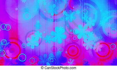 Multicolored looping bright blue magenta pink and red new retro flowers and shapes animated CG backdrop
