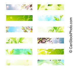 eco banner set - bright multicolored eco banner set over...