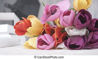 Bright Multicolored Flowers Tulips