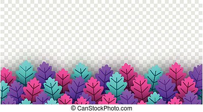 Bright multicolored oak leaves on transparent background.
