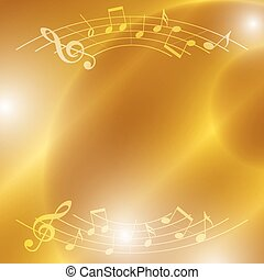bright music vector background with notes and lights