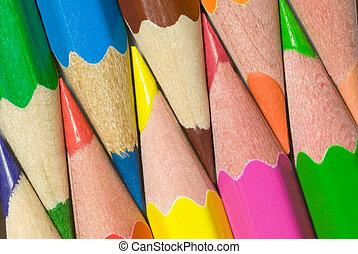 Bright mutual relations - Multi-coloured pencils are close...