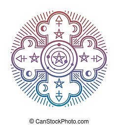 Bright mystery, occult esoteric symbol isolated on white background