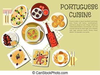 Bright national dishes of portuguese cuisine icon