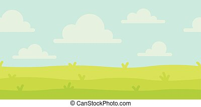 Bright nature landscape with sky, hills and grass. Rural scenery. Field and meadow. Vector illustration in simple minimalistic flat style. Scene for your artwork and design. Horizontal composition.