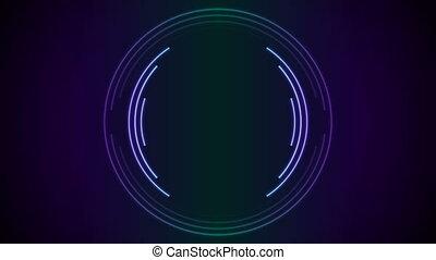 Bright neon circular lines tech video animation