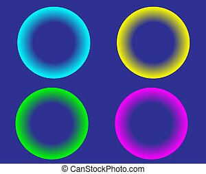 bright neon color circles balls on white background