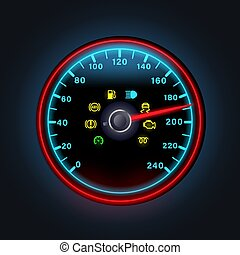Bright neon digital speedometer with light dashboard indicators, yellow warning icons of engine, petrol, exclamation point, abs, vector illustration.