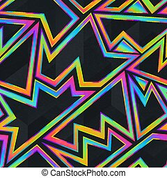 Bright neon geometric seamless pattern