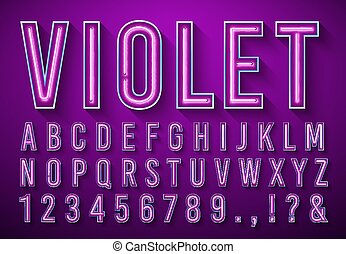 Bright neon letters. Violet glowing font, light box alphabet and neons lights lettering with shadow. Broadway nightlife neon lighting abc and numbers. 3d vector illustration symbols set