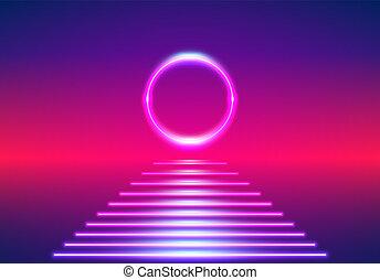 Bright neon lines 80s background as retro sunrise or sundown...