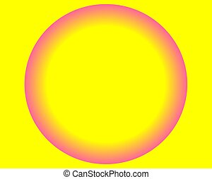 bright neon yellow pink circle ball on white background