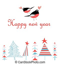 Bright New Year greeting card with in love with bullfinche