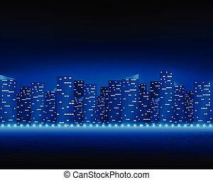 Bright night city landscape.