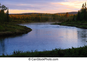 Bright Night River - Steaming river on a very bright night...
