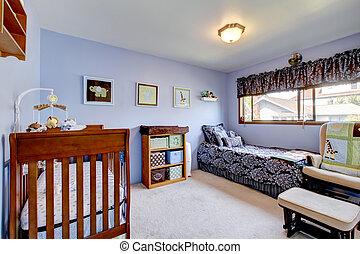 Bright nursery room interior in light lavender tones.