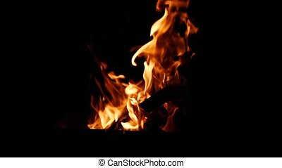 bright orange and yellow flames on a black background