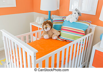 Bright Orange Baby Room Interior of House
