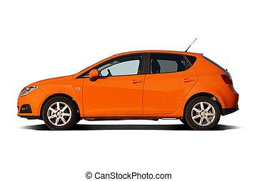 Bright orange compact family hatchback isolated on white