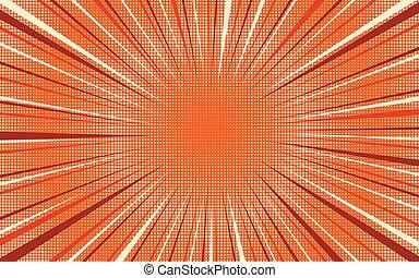Bright orange exploding retro comic background