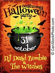 Bright orange Halloween party poster template with green witches cauldron, moon and bats