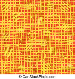 Bright orange irregular grid pattern with polka dots. Vector...