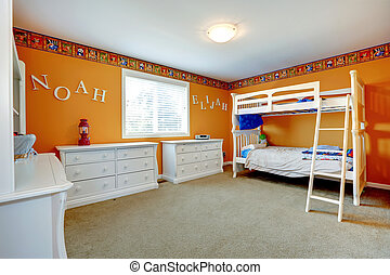 Bright orange kids room with bulk bed - Bright orange kids...