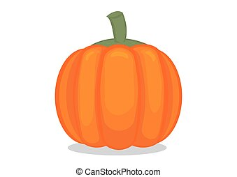 Bright orange pumpkin. Organice plant for food. Can be use for Halloween concept. Isolated flat vector illustration.